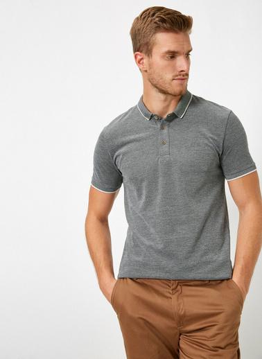 Koton Polo Yaka Kol Ucu ve Yakasi Çizgili Slim Fit T-Shirt Siyah